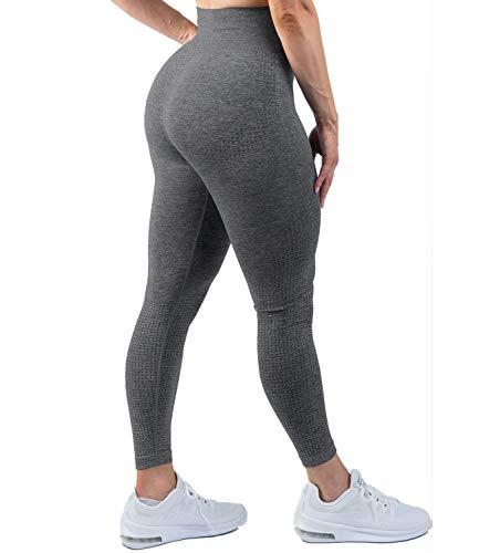 DUROFIT Damen Dotted Hohe Taille Sportleggings mit Hohem Bund Yoga Push Up Leggings Sporthose Yogahose mit Bauchkontrolle Anti Cellulite Jogginghose Sport Leggins für Yoga Pilates Grau M