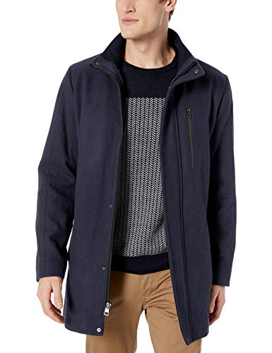 Calvin Klein Men's Classic Wool Car Coat, True Navy, X-Large