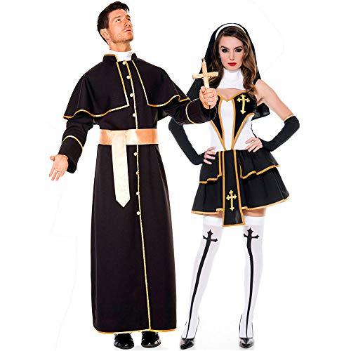 DEXIAOBANG Uomini E Donne Coppia Abiti Pastore Vesti Predicatori Mascherano Costumi di Preti E Suore Costumi di Halloween-m