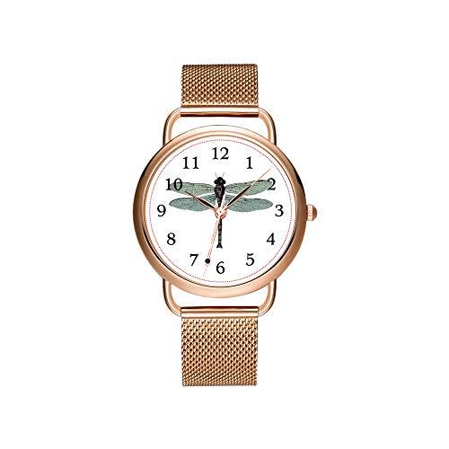 Christmas Women Quartz Watch Fashion Casual Ladies Watch Decorous Elegant Design Female Quartz Rose Gold Watch Antique Sea Sand Dollar Illustration Wristwatch