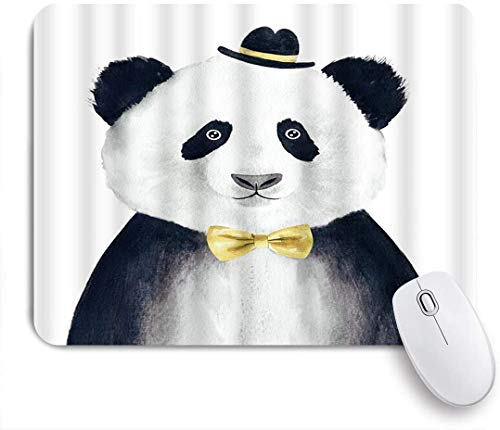Benutzerdefiniertes Büro Mauspad,Panda Aquarell Zeichnung Tier C Krawatte Funny Fashion Portrait,Anti-slip Rubber Base Gaming Mouse Pad Mat