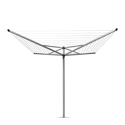 Brabantia 50 m Topspinner Rotary Washing Line (Metallic Grey) Folding 4 Arm Outdoor Rotating Clothes...