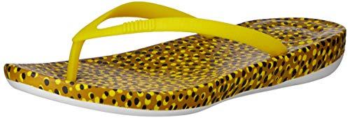 FitFlop Women's iQushion Ergonomic Flip-Flop,Yellow Bubbles,US 6 M
