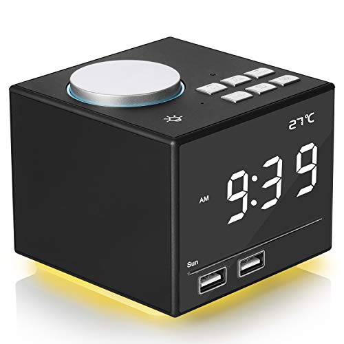 "Digital Alarm Clock Radio, Bedside FM Radio Clock With Bluetooth Speaker Colorful Atmosphere Light, Dual Alarms, Snooze&Sleep Timer, Dual USB Port, 4.2"" LED Display with Dimmer for Bedroom Home Office"