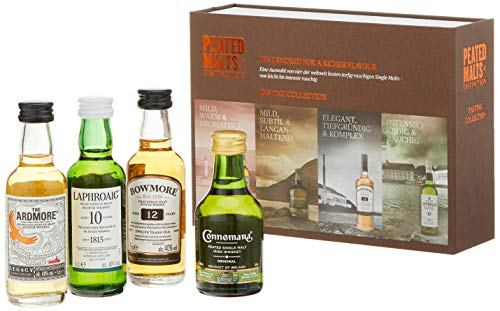Peated Malts Whisky Geschenkset Mit Bowmore, Laphroaig, Connemara, the Ardmore, 4 x 0,05l, (4er Pack)