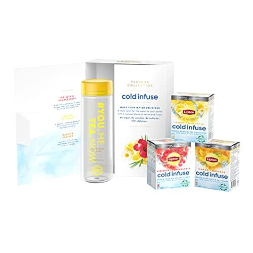Lipton Coffret Cadeau Infuse à froid & Gourde, 3 goûts d'infusion froide: Hibiscus Grenade, Mangue Rooibos et Citron Camomille, Boisson Rafraichissante d'été, 100% naturel (30 Sachets et 1 Gourde)