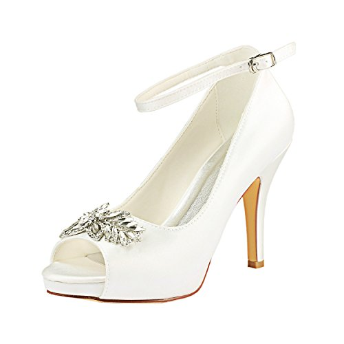 Emily Bridal Zapatos de Novia de Marfil Peep Toe Slingbacks Zapatos de...