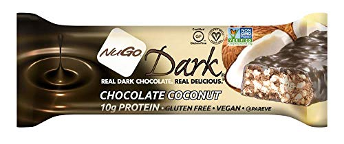 NuGo Dark Nutrition Protein Dairy Free Non GMO Vegan Bars Chocolate Coconut 50g - Pack of 12