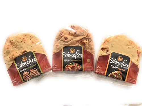 Stonefire Naan Fresh Authentic Flatbreads, (3 Pack ) Origional, Roasted Garlic, & Whole Grain.