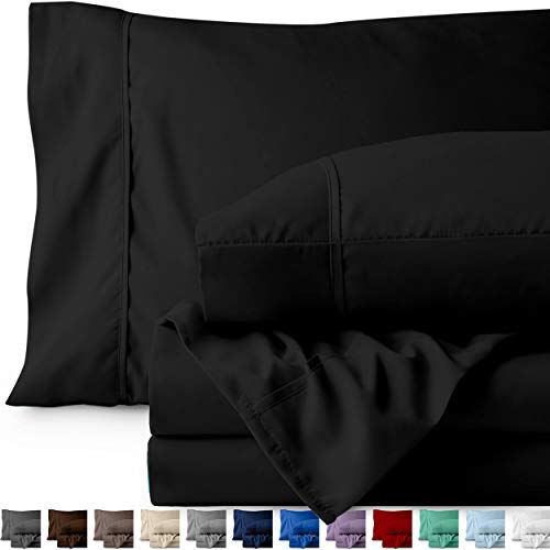 Bare Home Twin XL Sheet Set - College Dorm Size - Premium 1800 Ultra-Soft Microfiber Sheets Twin Extra Long - Double Brushed - Hypoallergenic - Wrinkle Resistant (Twin XL, Black)