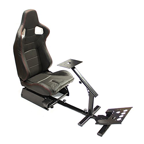 MODAUTO Estructura para Videojuego,  Estructura Simulador de Conducción con Asiento SemiBaquet Ajustable,  de Cuero,  Modelo N810B- N700,  Negro
