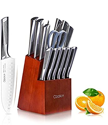 Cookit 15 Pieces Kitchen Knife Set with Pine Block Holder, Chef Knife Set with Sharpener, High Stainless Steel Knives with Comfortable-grip ABS Handles, Boxed Knife Sets …