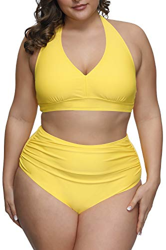 Pink Queen Women's 2 Piece Swimsuits Plus Size Tummy Control Bikini High Waisted Bathing Suits Yellow 2XL
