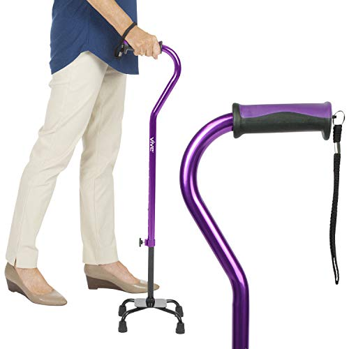 Vive Quad Cane  Walking Stick for Men and Women  Lightweight Adjustable Staff  Comfortable Right and Left Hand Grip for Stability Support  Four Prong Sturdy Aluminum Travel Aid  4 Tip