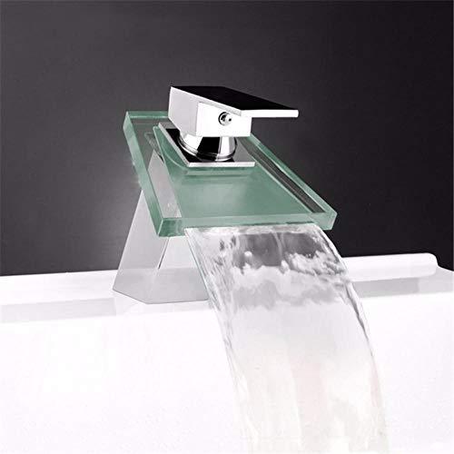 Cascada de baño Grifo de lavabo LED Cascada de vidrio Grifo de lavabo de latón Grifo mezclador de baño Grifo mezclador de lavabo montado en la cubierta