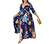 ZOCAVIA Plus Size Casual V Neck Floral Print Belted Empire Waist Maxi Long Dress Blue Large