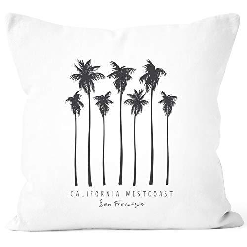 Autiga® Kissenbezug Palmen California Westcoast Palms Summer Kissen-Hülle Deko-Kissen weiß Unisize