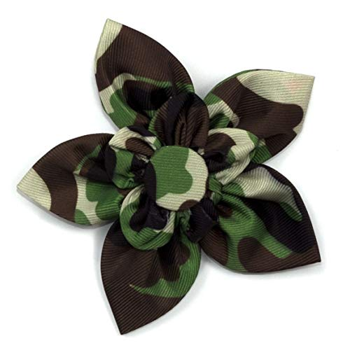 The Worthy Dog Camo Camouflage Pattern Fashionable Flower Collar Accessory for Pet Dogs, with Easy Release Touch Fastener Strip - Fits Small, Medium and Large Dogs, Brown Color