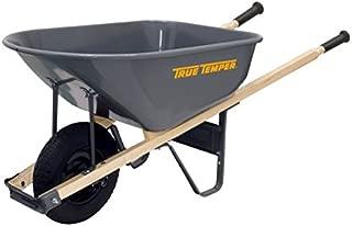 True Temper R6FF25 6 Cu. Ft. Steel Tray Wheelbarrow with Never Flat Tire and Hardwood Handles, Feet