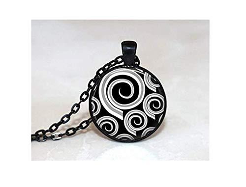 Abstract Art Ketting, Glas Tegel Sieraden Zwart en Wit Sieraden Zilver Sieraden Zwarte Sieraden
