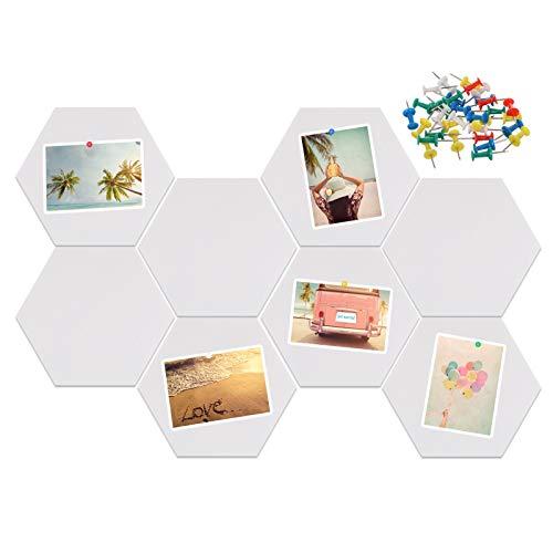 Xinzistar 8 x tablones de corcho con chinchetas, hexagonal, pizarra de corcho autoadhesiva, paneles de pared, para colgar fotos, casa, oficina, color blanco