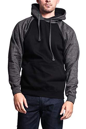 G-Style USA Premium Heavyweight Contrast Raglan Sleeve Pullover Hoodie Sweatshirt MH13112 - Black/Charcoal - 2X-Large
