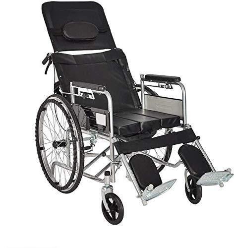 Rollstuhlgehendes Hilfsmittel Rollstuhl Stahl Rollstuhlklappbarer Leichter Trolley, tragbare rutschfeste Armlehne Klapppedal Rollstuhl, Schwarze halbliegende Toilette Pflege und Assis