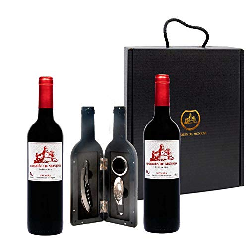 Caja Regalo Vino - Pack de 2 Botellas de Resevas + Kit Accesorios con Abrecorchos Aireador y Anillo Antigoteo con estuche - Regalo Original – D.Origen Olite Navarra – Ideal para regalar