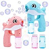 2 Bubble Guns Kit Whale Automatic Bubble Maker Blower Machine with 2 Bubble Solutions for Kids, Bubble Blower for Bubble Blaster Party Favors, Summer Toy, Birthday, Outdoor & Indoor Activity, Easter