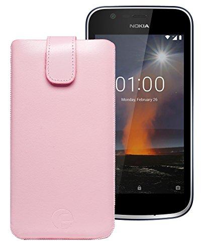 Original Favory Etui Tasche für Nokia 1   Leder Etui Handytasche Ledertasche Schutzhülle Hülle Hülle Lasche mit Rückzugfunktion* in rosa