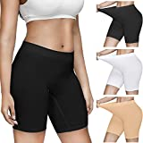 Women 3 Pack Comfortably Smooth Slip Shorts for Under Dresses, Elastic Anti...