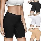 Women 3 Pack Comfortably Smooth Slip Shorts for Under Dresses, Elastic Anti Chafing Thigh Underwear Panty Boyshorts Yoga Shorts Safety Leggings Undershorts (Black+White+Nude,Medium)