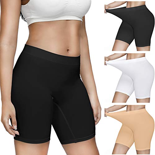 Slip Shorts for Women,3 Pack Comfortable Smooth Short Seamless Underwear for Yoga…