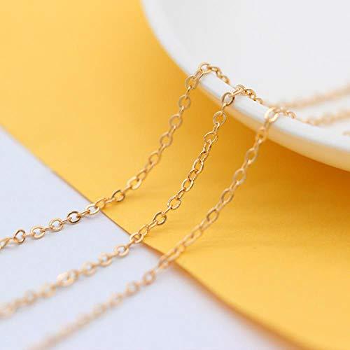 LINFA Collar Chapado En Bronce Cable Eslabón Cerrado Bordillo De Metal Cadena Cruzada Fabricación De Joyas Fornituras De Cadena, Oro KC