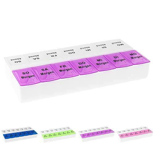 WELLGRO Tablettenbox für 7 Tage, je 2 Fächer pro Tag, 4 Farben zur Auswahl, Farbe:Lila