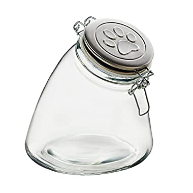 Amici Pet A7CA111R Stainless Steel Paw Glass Storage Canister, Clear