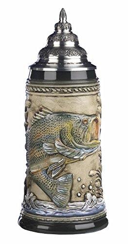 KING Jarra de Cerveza Alemana con Relieve, Pescador de caña, Jarra 0,75 litros KI 317-RU 0,75L