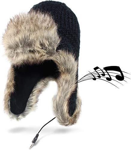 Circle Five Musik Mütze - Fellmütze mit intergrierten Lautsprecher an den Ohren - Wintermütze Unisex
