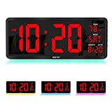 "【2021 Newest 】 YORTOT 16"" Large Digital Wall Clock with 7 Color Night Light, 4 Level Dimmer, Remote Control, Big Red Number LED Display with Indoor Temperature, Date and 12/24Hour, DST, Fold Out Stand"