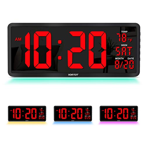 "YORTOT 16"" Large Digital Wall Clock with 7 Color Decor Night Light, 4 Level Brightness Dimmer, Remote Control, Big Red Number LED Display with Indoor Temperature, Date and 12/24H, DST, Fold Out Stand"