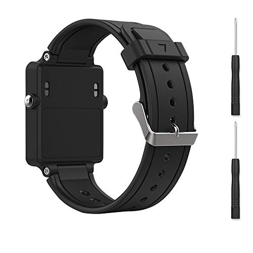 Bossblue Black Replacement Band for Garmin Vivoactive, Silicone Replacement Fitness Bands Wristbands with Metal Clasps for Garmin vivoactive GPS Smart Watch