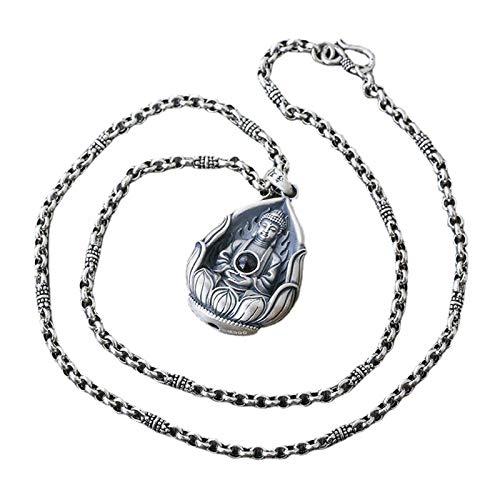 Hombre Plata De Ley 999 Plata Budismo Dioses Guardianes Chinos Colgante Collar Amulet Amitabha Bodhisattva Unisex Regalo Ideal para Hombre Y Mujer con Caja Regalo