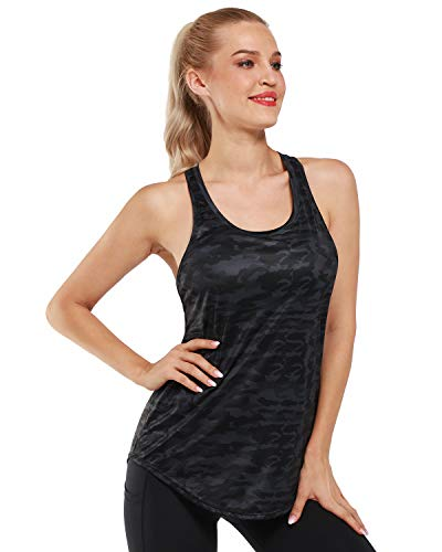 Promover Camiseta sin Mangas Deportiva Tirantes para Mujer Ligera Plisada Holgada Espalda Cruzada para Fitness Yoga Tank Top