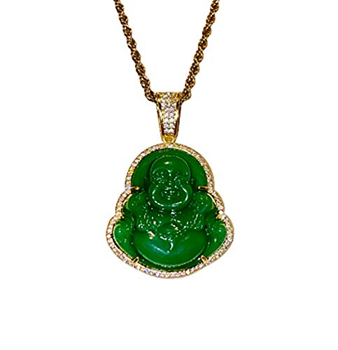 Iced Laughing Buddha Green Jade Pendant Necklace Rope Chain Genuine Certified Grade A Jadeite Jade Hand Crafted, Jade Neckalce, 14k Gold Filled Laughing Jade Buddha Necklace, Jade Medallion (24)