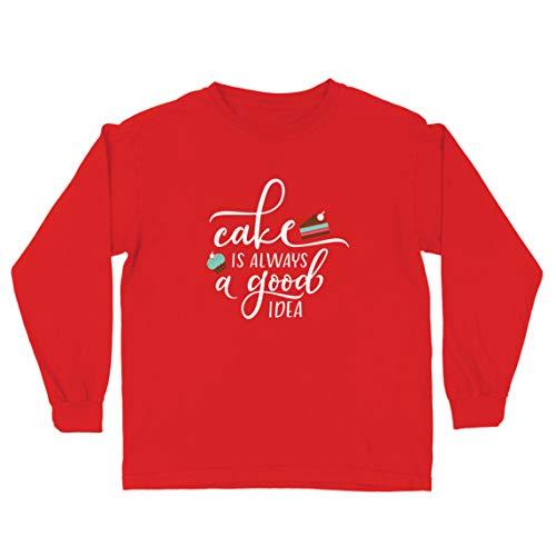 lepni.me Kinder-T-Shirt mit Langen Ärmeln Kuchen ist Immer eine Gute Idee Liebe Kochen Backen Essen (9-11 Years Rot Mehrfarben)