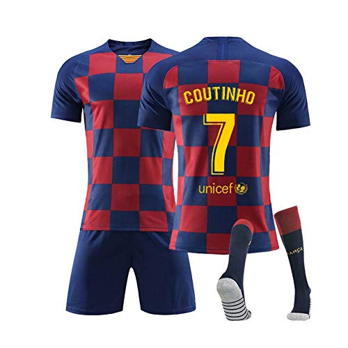 COOLBOY Coutinho 7 Kids Football Soccer T-Shirt Jersey, Boy's Youth Sport Shirts Shorts and Socks Set,16