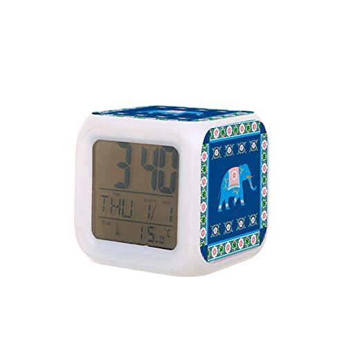 Sveglia a LED unisex, per adulti, con elefante, indiano, stile indù, creativo, orologio da tavolo da tavolo, elettronico colorato e digitale, sveglia di giocattolo regalo di compleanno