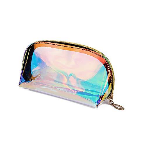Tragbare, wasserdichte, transparente Regenbogen-Laser-Hologramm-Kosmetiktasche, Make-up-Organizer, Reise-Kulturbeutel, Handtasche für Frauen und Mädchen, gold (Gold) - MKP-BAG