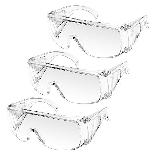 Gafas de Seguridad, UNTIRE Gafas Protectoras Transparentes antivaho, Prueba de Polvo, a Prueba de Viento y rayones,para Laboratorio, Agricultura, Industria, Trabajo y el Deporte (3 Par)