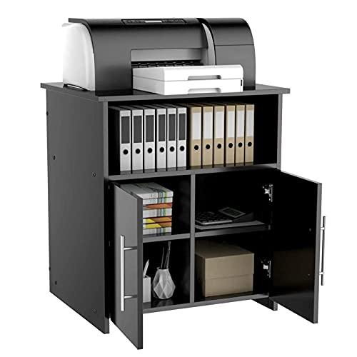 Archivador de madera con estantes de almacenamiento abiertos, soporte para impresora de escritorio, archivador de cocina, armario de cocina, Pan Pot Sliverware